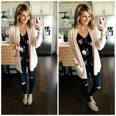 Floral Top + Blush Cardigan // Winter to Spring Outfit