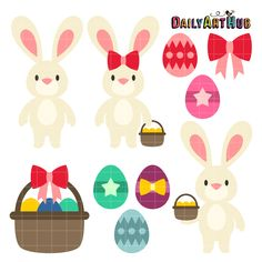 FREE Easter Bunnies Clip Art Set