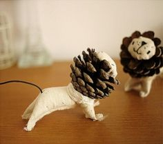 DIY Pinecone Lions! by bizz / These would make adorable Christmas Tree ornaments -- great in a home with small children!