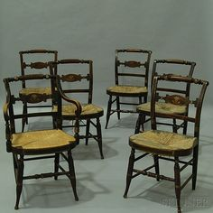 Set of Six Grain-painted Fancy Chairs | Sale Number 2765M, Lot Number 557 | Skinner Auctioneers