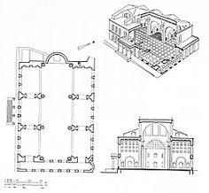 pianta e ricostruzione della basilica di Massenzio