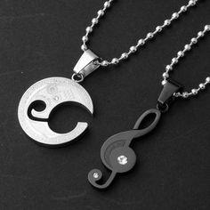 YESSTYLE: MURATI- Set: Rhinestone Musical Note Pendant + Moon Pendant (Black & Silver - 1 Pair) - Free International Shipping on orders over $150