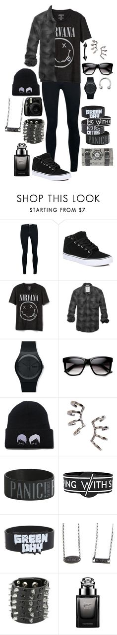 """Untitled #342"" by grey-daray ❤ liked on Polyvore featuring Topman, Vans, Gap, American Eagle Outfitters, Swatch, ZeroUV, Nadri, Fujifilm, Hot Topic and Gucci"