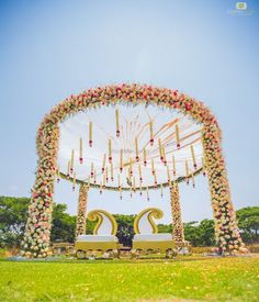Looking for Circular floral mandap decor with strings? Browse of latest bridal photos, lehenga & jewelry designs, decor ideas, etc. Indian Wedding Receptions, Outdoor Indian Wedding, Wedding Mandap, Indian Wedding Album Design, Wedding Hall Decorations, Flower Decorations, Peach Wedding Invitations, Wedding Doors, Peach Weddings