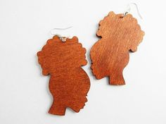 Afro Puff Wood Earrings African Jewelry Afro Earrings Handmade Natural Wood Earrings Natural Hair Jewelry Cute Earrings by TheBlackerTheBerry