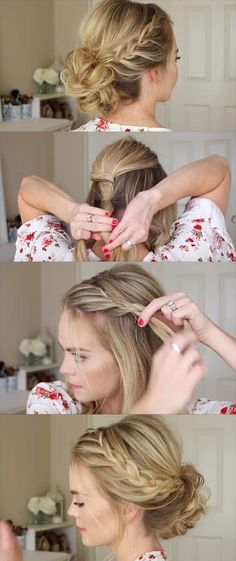 24 Beautiful Bridesmaid Hairstyles For Any Wedding - Lace Braid Homecoming Updo . - 24 Beautiful Bridesmaid Hairstyles For Any Wedding – Lace Braid Homecoming Updo Missy Sue – Bea - Simple Wedding Hairstyles, Easy Hairstyles For Long Hair, Trendy Hairstyles, Short Hair Bridesmaid Hairstyles, Braided Updo For Short Hair, Bridesmaid Hair Updo Braid, Short Haircuts, Prom Hair Updo, Easy Braided Updo