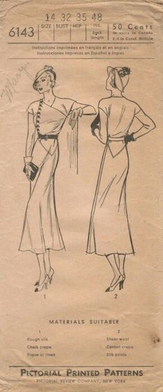Pictorial 6143 adapted from Vionnet (1932) Dress