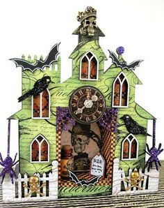 By Design Team Member Linda Cain using the Haunted House Shrine Kit and more from Retro Café Art Gallery www.RetroCafeArt.com