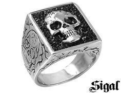 David Sigal Men's Skull Ring with Black Crystals in Stainless Steel