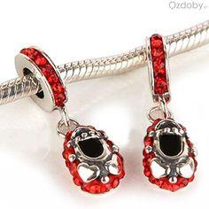 Srebrne koraliki do biżuterii modułowej z czerwonymi zapięciami