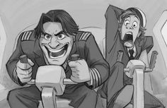 """tealin's tumblr illustration of Cabin Pressure characters Douglas and Martin in """"Qikiqtarjuaq"""". :)  I love this artist's depiction of the characters, especially in this picture.  I can't stop laughing looking at it. ;)"""
