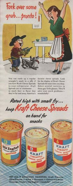 Kraft Cheese Spread Cartoon Food Advertisements of the Loved the pineapple and the pimento ones. Vintage Labels, Vintage Ads, Vintage Images, Vintage Prints, Vintage Posters, Vintage Food, Retro Food, Vintage Ephemera, Old Advertisements