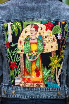 Gray Denim jacket Frida Kahlo embellished jacket Frida print jacket size XS S M L Anna da Gala women's jean jacket handmade new Grey jacket