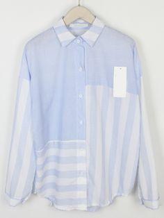 Shop Blue Lapel Striped Blouse online. SheIn offers Blue Lapel Striped Blouse & more to fit your fashionable needs.