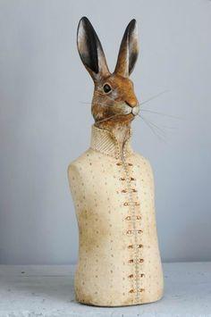 Rabbit Crafts, Rabbit Art, Rabbit Head, Rabbit Sculpture, Sculpture Art, Art Du Monde, Paper Mache Animals, Paper Mache Crafts, Easter Traditions