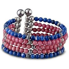 Carolyn Pollack 925 Sterling Pink Blue Gemstone Multi-Layer Bracelet This fierce strand wrap bracelet by Carolyn Pollack is made of natural Rhodonite and Sodalite gemstones. The strand of hand strung genuine Rhodonite with Sodalite beads are attached to a sterling silver make it a must have jewelry. This bracelet is consisted of two genuine Sodalite bracelets and three genuine Rhodonite strand. All natural stones on comfort memory wire. Sterling silver beads add the perfect finishing touch…