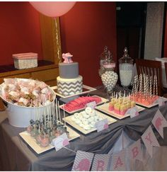 Classy and cute elephant baby shower. Purple, grey, white, and maybe yellow? Baby Shower Desert Table, Grey Baby Shower, Boy Shower, Baby Shower Desserts, Baby Shower Themes, Baby Shower Gifts, Shower Ideas, Office Baby Showers, 2nd Baby Showers