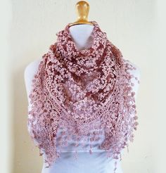 """Scarf """"Lilith"""" in PORT WINE / BURGUNDY / Brick Red with floral pattern and rich lace edge - scarflette shawl neckwarmer - Spring / Summer. $16.00, via Etsy. OH MY HEAVEN! This is BEAUTIFUL!!!"""