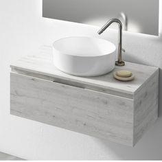 Mueble de Baño Londres Roble Blanco Black Bathroom Sink, Small Bathroom Vanities, Vessel Sink Bathroom, Bathroom Design Small, Basin Vanity Unit, Basin Sink, Kitchen Sink Organization, Countertop Basin, Floating Vanity