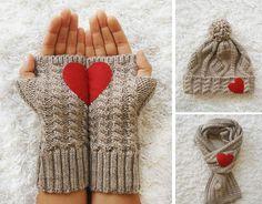 Heart Gloves Fingerless Dark Beige Gloves with Beige by yastikizi Crochet Gloves, Knit Crochet, Knitting Patterns, Crochet Patterns, Christmas Scarf, Valentines Day Gifts For Her, Wrist Warmers, Crochet Projects, Ideas