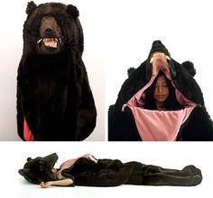 10 Weirdest Sleeping Bags. I love the bear sleeping bag & the hanging cocoon!
