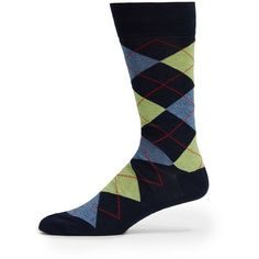Saks Fifth Avenue Cotton-Blend Mid Calf Socks ($6.49) ❤ liked on Polyvore featuring men's fashion, men's clothing, men's socks, lime and mens socks