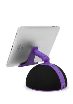 A dome speaker for the iPad,iPhone and iPod that is also a stand. Available in Purple, Red and Teal. Great for any desk, nightstand or end table! $14.99