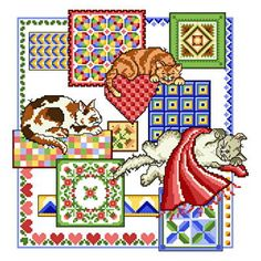 Cat Nap Quilts - cross stitch pattern designed by Ursula Michael. Category: Cats.