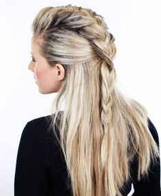 Half Braided Long Hairstyles for Prom
