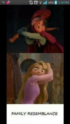 I find frozen and tangled very similar femal charecters..