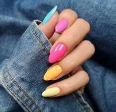 Pretty Multicolored Nail Art Designs For Spring and Summer 2019 rainbow nail… Pretty Multicolored Nail Art Designs For Spring and Summer 2019 rainbow nails, colorful nail art design, French manicure, Multicolored Nail Art Designs Cute Nails, Pretty Nails, My Nails, Cute Almond Nails, Multicolored Nails, Colorful Nail, Nailart, Rainbow Nail Art, Almond Nails Designs