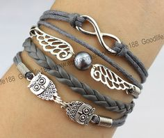 Infinity wish bracelet wings bracelet cute owl by Goodlife188, $5.59