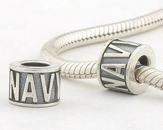 CLLE-NAVY 925 Sterling Silver Alphabet letter NAVY Pandora Charms beads Pandora Letters