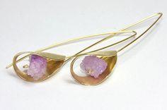 Lilac drusy agate hook earrings sterling silver by FavelaJewelry