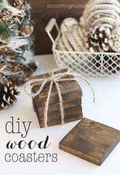 DIY Wood Coasters Simple and affordable gift idea. Check out this DIY Wood Coaster Tutorial. Diy Craft Projects, Diy Wooden Projects, Wooden Diy, Decor Crafts, Diy Wooden Crafts, Wood Projects To Sell, Simple Wood Projects, Project Ideas, Wood Pallet Crafts