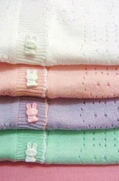 pastel sweaters w/bunny buttons