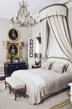 Great Selection of Best Interior Design Projects by Jean-Louis Deniot Paris Inspired Bedroom, Parisian Bedroom, Bedroom Vintage, Parisian Chic, French Country Rug, French Style, Rustic French, Master Bedroom Design, Bedroom Designs