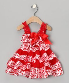 Take a look at this Red & White Heart Ruffle Dress - Infant, Toddler & Girls by Tutus by Tutu AND Lulu on #zulily today!