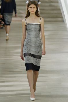 Preen. Spring 2013 Ready to Wear. Elegantly simple. I love the print dispersed with sheer patches on this dress.