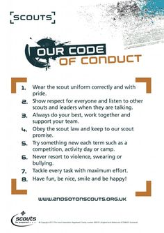 Den Code Of Conduct  Bing Images  Scout Stuff