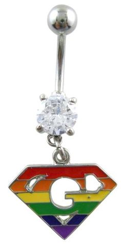 $12.5 Crystal CZ Dangle Belly Button Navel Ring Bar Silver - Gay Pride in Rainbow Superman Emblem Parody with Diamond - Cute TrendyFrom Body Jewelry $12.5