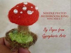 Needle felted Mushroom ring