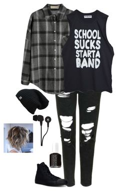 """Untitled #95"" by disneychick156 ❤ liked on Polyvore featuring Topshop, Converse, Essie and Skullcandy"