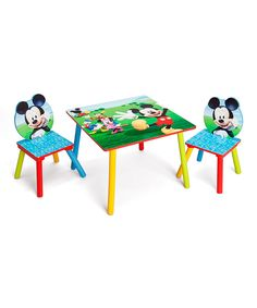 This Mickey Mouse Table & Chairs Set by Mickey Mouse Clubhouse is perfect! #zulilyfinds