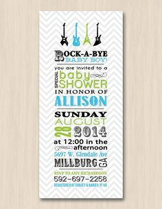 ROCK GUITAR Baby Shower Printable Invitation by PrintasticDesign