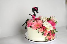 Best 12 Colourful flower cake with a female silhouette – Page 298715387781008374 – SkillOfKing. Cake Icing, Buttercream Cake, Fondant Cakes, Cupcake Cakes, Cupcakes, Diva Cakes, Silhouette Cake, Birthday Cake Girls, Fancy Cakes