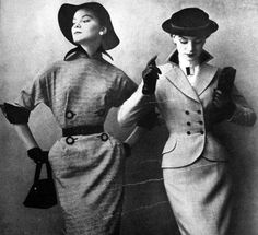 Smartly dressed in pencil suits 1951 Vogue
