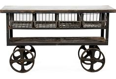 "Industrial Steel Cart   Big Daddy's  61.5""L x 18""W x 36""H  ($2,200.00)  $1,549.00  OneKingsLane.com"