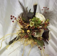 Mossy Oak Wedding Bouquet   Camo Wedding / Bridesmaid bouquets mossy oak camoflage woodsy look