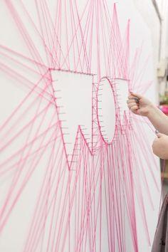 WOW string art- great camp decor idea!